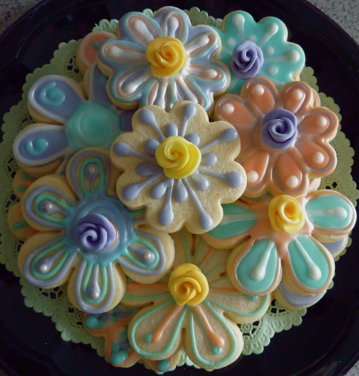 Decorated Flower Sugar Cookies